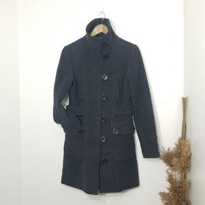 Roxy | Gray Belted Wool Blend Trench Coat Small